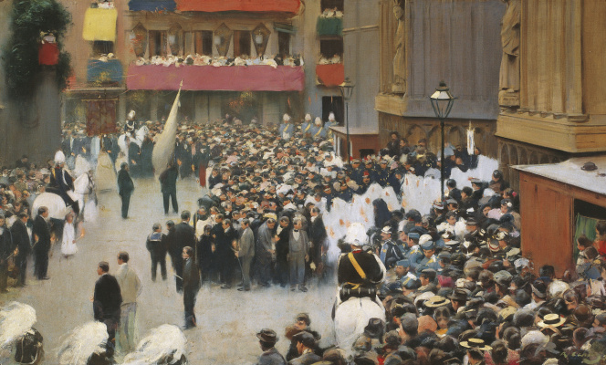 "Ramon Casas i Carbó. ""The Body of Christ"". Procession leaving the church of Santa Maria del Mar"