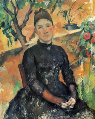 Paul Cezanne. Madame Cezanne in the Conservatory