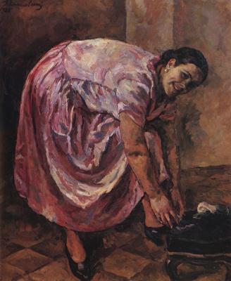 Petr Petrovich Konchalovsky. Portrait Of N. P. Konchalovskaya in pink dress
