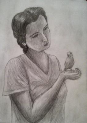 Zina Vladimirovna Parisva. Mom and the bird