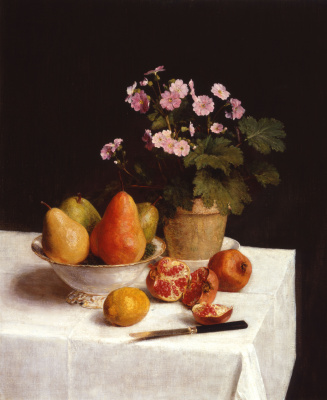 Henri Fantin-Latour. Still life with primroses, pear and pomegranate