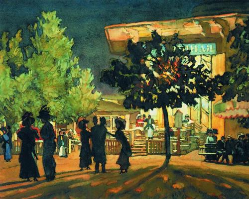 Константин Федорович Юон. Ночь. Тверской бульвар. 1909  белила
