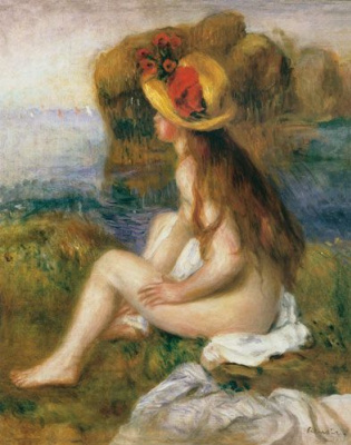 Pierre-Auguste Renoir. Bather in a straw hat