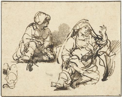 """Рембрандт Харменс ван Рейн. Набросок больной женщины для """"Листа на сто гульденов"""""""