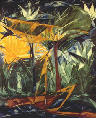 Natalia Goncharova. Yellow and green forest