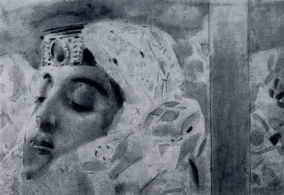 "Mikhail Vrubel. Tamara in a coffin. Illustration to the poem by Mikhail Lermontov ""Demon"". Fragment"