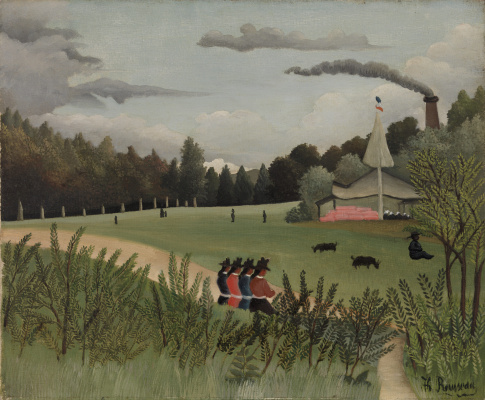 Henri Rousseau. Landscape and four young girls