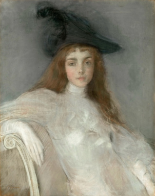 Paul Cesar Ellie. Portrait of a girl in a black hat