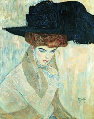 Gustav Klimt. Black hat with feather