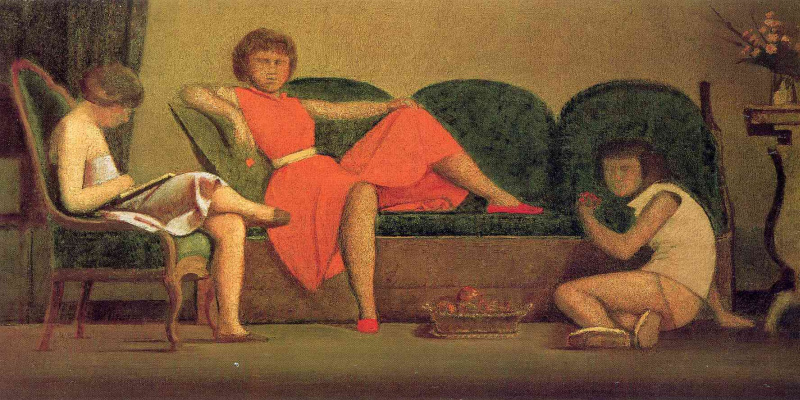 Balthus (Balthasar Klossovsky de Rola). Three sisters and a fruit basket