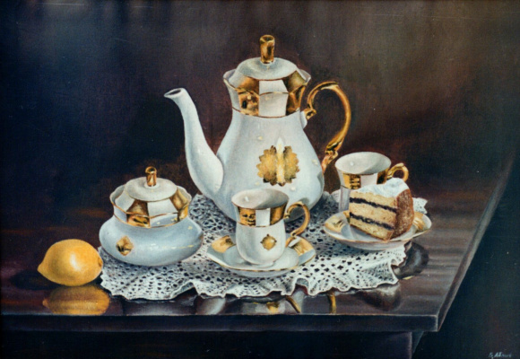 Vladimir Vasilyevich Abaimov. Still-life with a Tableware set