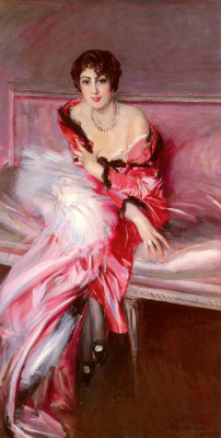 Giovanni Boldini. Portrait of Madame Juliard in Red