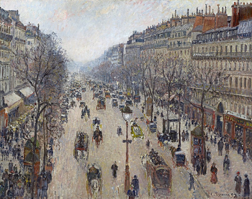Camille Pissarro. The Boulevard Montmartre. Morning, overcast weather.