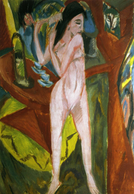 Ernst Ludwig Kirchner. Nude combing hair