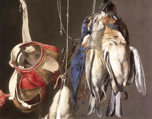Willem van Aelst. Hunting trophies. Detail