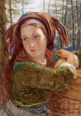 Frederick William Burton. Young Bavarian Peasant Woman