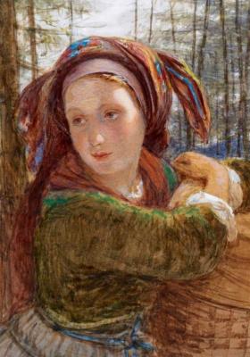 Frederick William Burton. Young Bavarian Peasant Woman