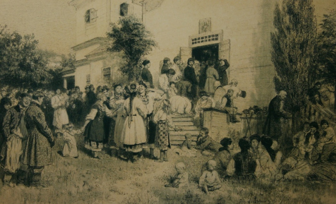 Ilya Efimovich Repin. During the Mass at Tsvintari (in the Churchyard) 1879 A. Garin Collection