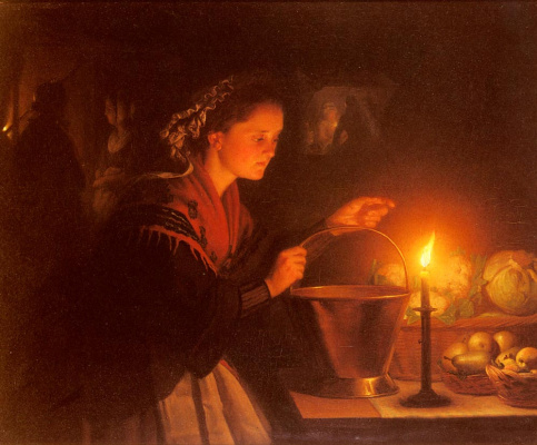 Петрус ван Шендел. Сцена торга при свечах