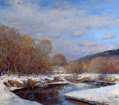 Alexander Victorovich Shevelyov. April. The bend of the river. Oil on canvas 86,5 x 97 cm 2007