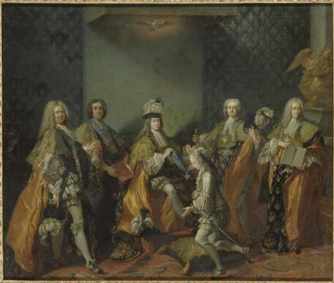 Жан-Батист ван Лоо. Людовик XV вручает орден Святого Духа графу Клермон в часовне Версаля, 3 июня 1724.