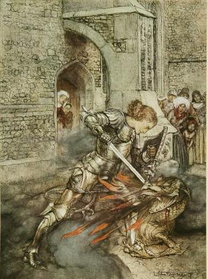Arthur Rackham. Lancelot and the Dragon