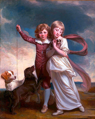 George Romney. Thomas John Clavering and Catherine Mary Clavering. Children with a puppy