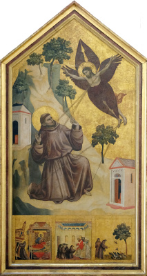 """Giotto di Bondone. Panel """"Saint Francis of Assisi, received stigmata"""" with the limits"""