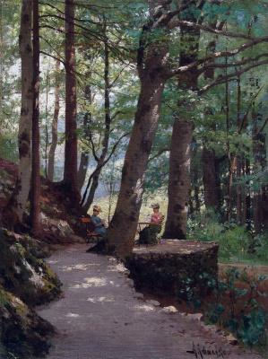 Алексей Данилович Кившенко Россия 1851- 1895. In the park. 1880s