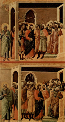 Duccio di Buoninsegna. Maesta, altar of Siena Cathedral, reverse side, Register with scenes of the passion of Christ, scene: Mockery of Christ