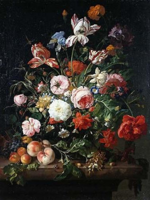 Рашель Рюйш. Цветы с фруктами
