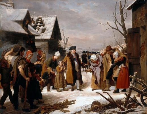 Эрсан Луи. Людовик XVI, раздающий милостыню крестьянам Версаля зимой 1788 года