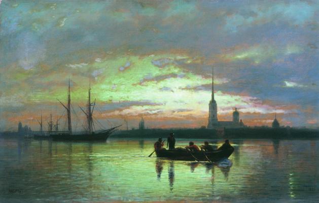 Lev Feliksovich Lagorio. View of St. Petersburg moonlit night