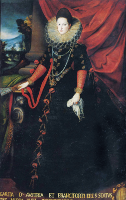 Sofonisba Angisola. Portrait of Donna Giovanna of Austria with a fan in her hands