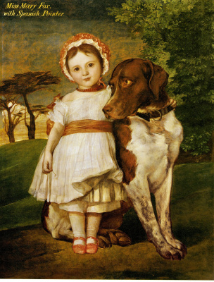George Frederick Watts. Miss Marie Fox with a dog