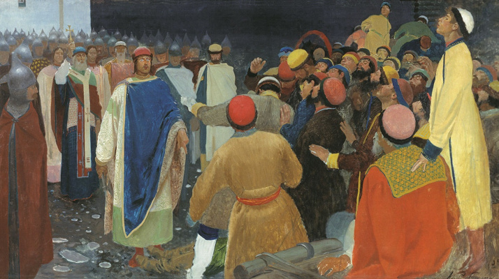 Andrei Petrovich Ryabushkin. Prince Gleb Svyatoslavovich kills the sorcerer at the Novgorod assembly (Prince's court). 1898