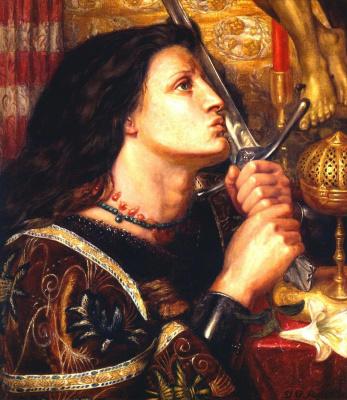 Данте Габриэль Россетти. Жанна Д'Арк целует меч спасения