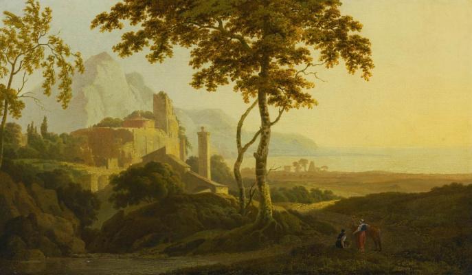 Эдвард Лир. Italian lovers on a landscape background