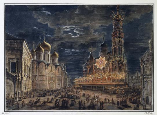 Fedor Yakovlevich Alekseev. Illumination in Sobornaya square in honour of the coronation of Emperor Alexander I