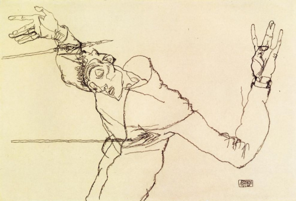 Egon Schiele. Self-portrait in the image of Saint Sebastian