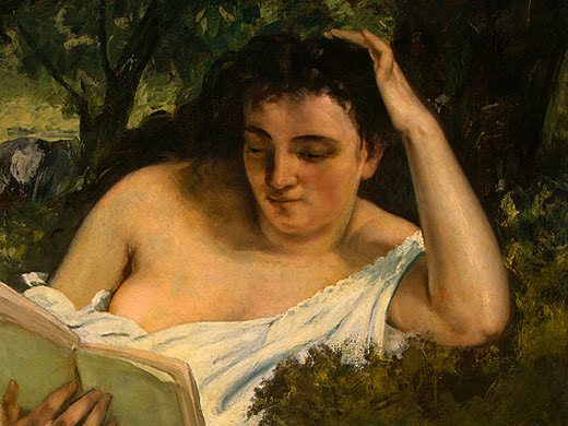 Gustave Courbet. Young woman reading, фрагмент1