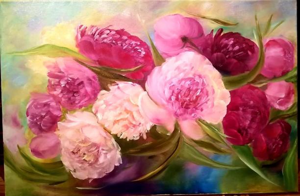 "Valeria Kostromina. Painting ""Bright Peonies"""