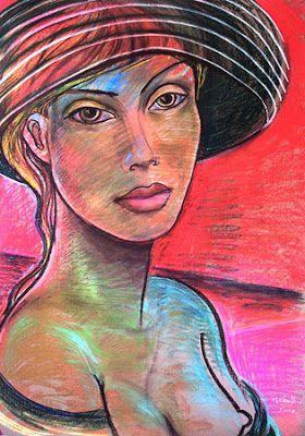 Портрет женщины на красном фоне
