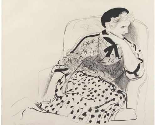 David Hockney. Celia in an armchair