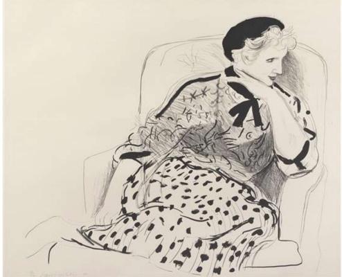 David Hockney. Celia in an armchair