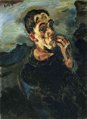 Oskar Kokoschka. Self-Portrait, One Hand Touching the Face