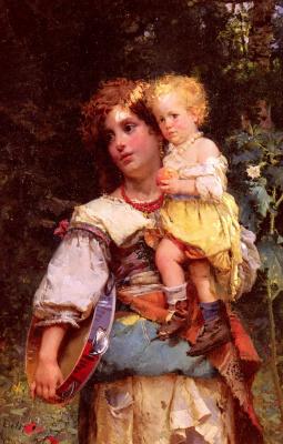 Чезаре-Огюст Детти. Цыганская женщина и ребенок