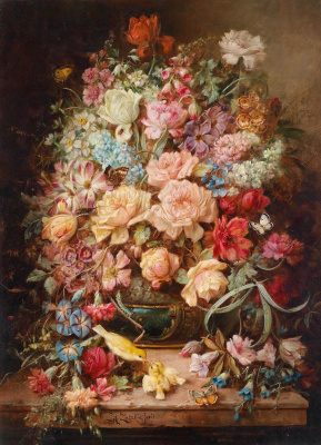 Hans Zack. Large flower still life with butterflies and birds