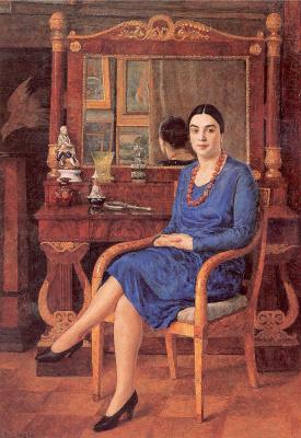 Илья Иванович Машков. Женщина в синем платье