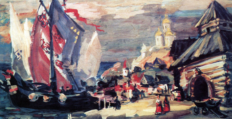 "Konstantin Korovin. Pier in Novgorod. A sketch of the scenery for the Opera N.. Rimsky-Korsakov's ""Sadko"""